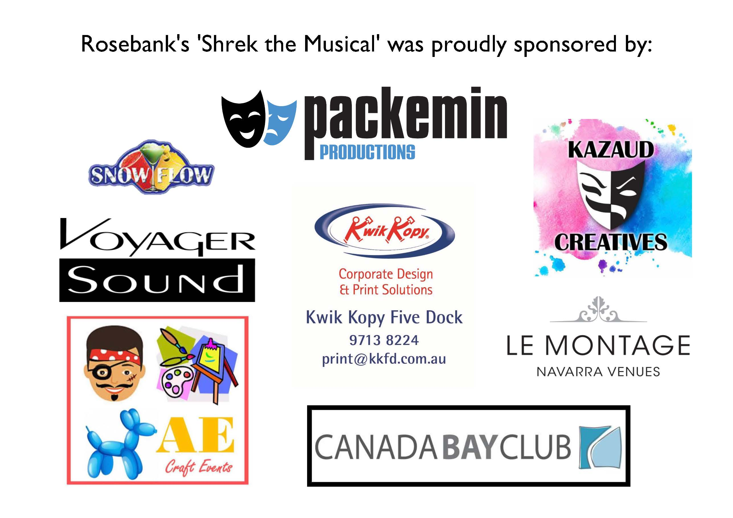 """Thank you to our Sponsors of """"Shrek"""" The Musical"""